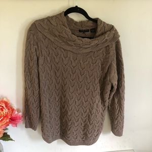 Cowl Neck Brown Long Sleeved Sweater